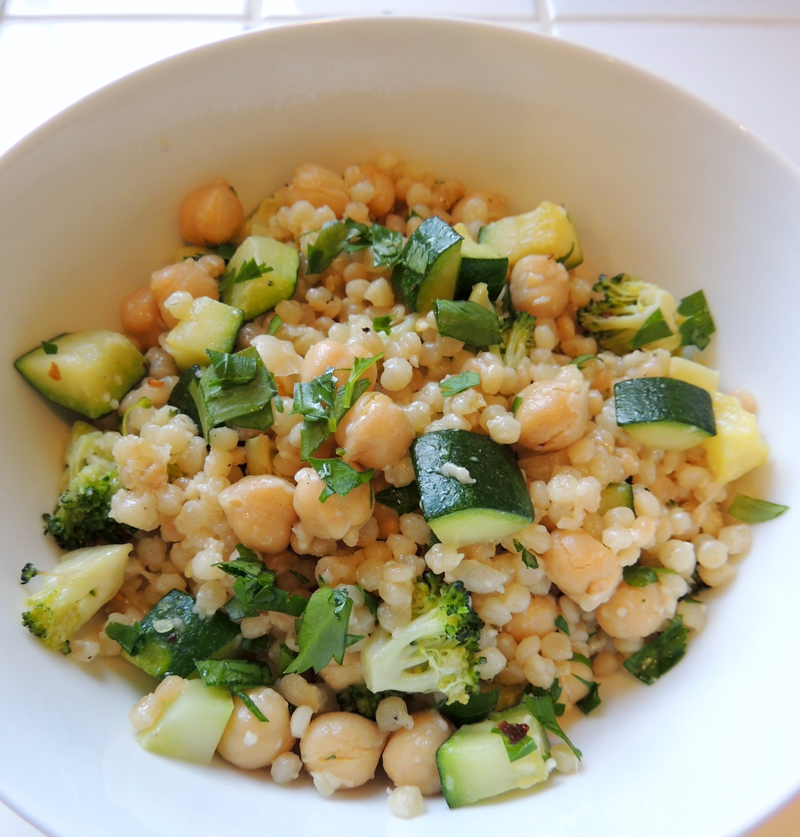 Toasted Israeli Couscous with Zucchini, Broccoli, Garbanzo ...