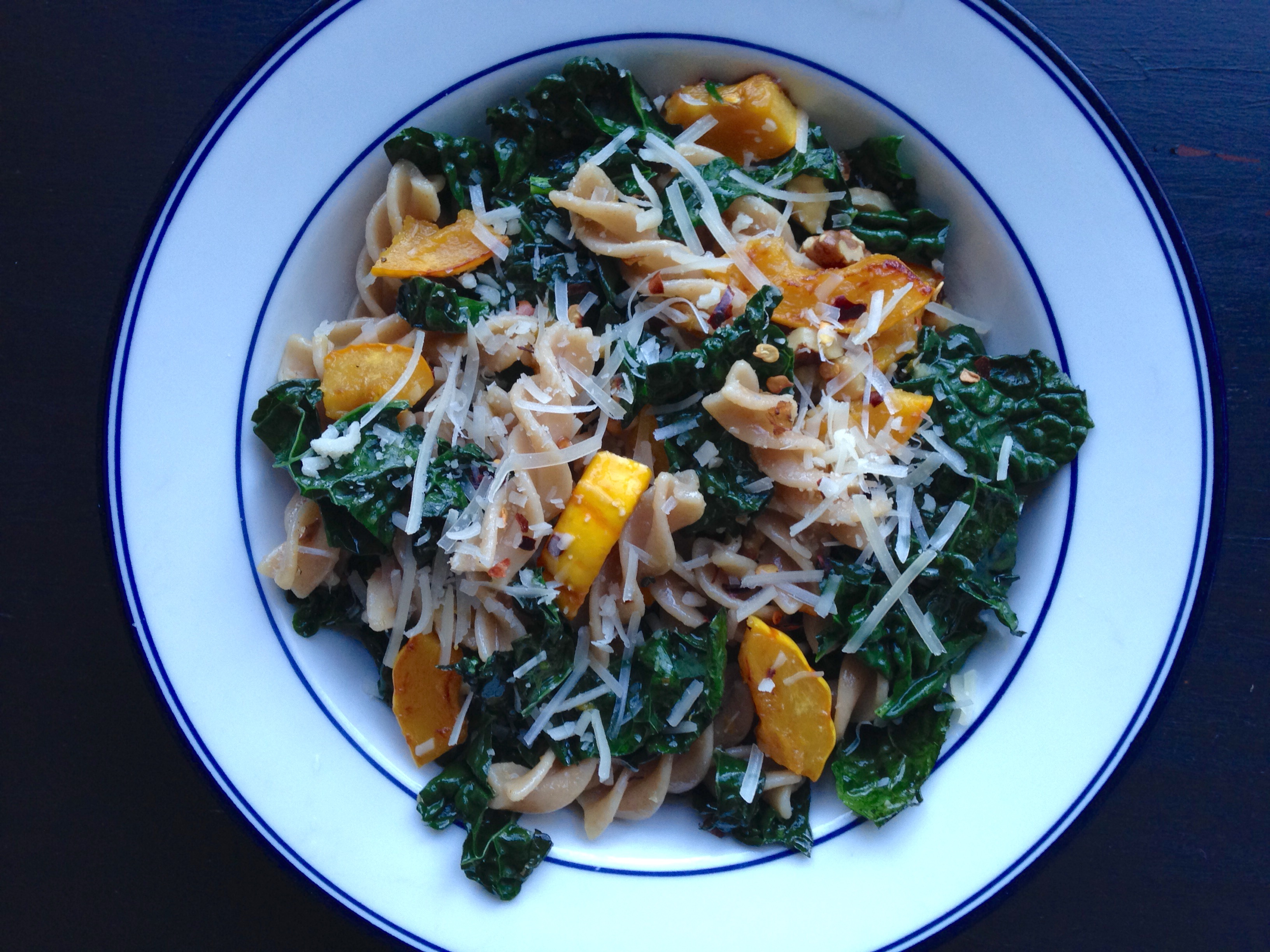 Pasta with Roasted Squash, Kale, Walnuts & Parmesan | Living Healthy in Seattle