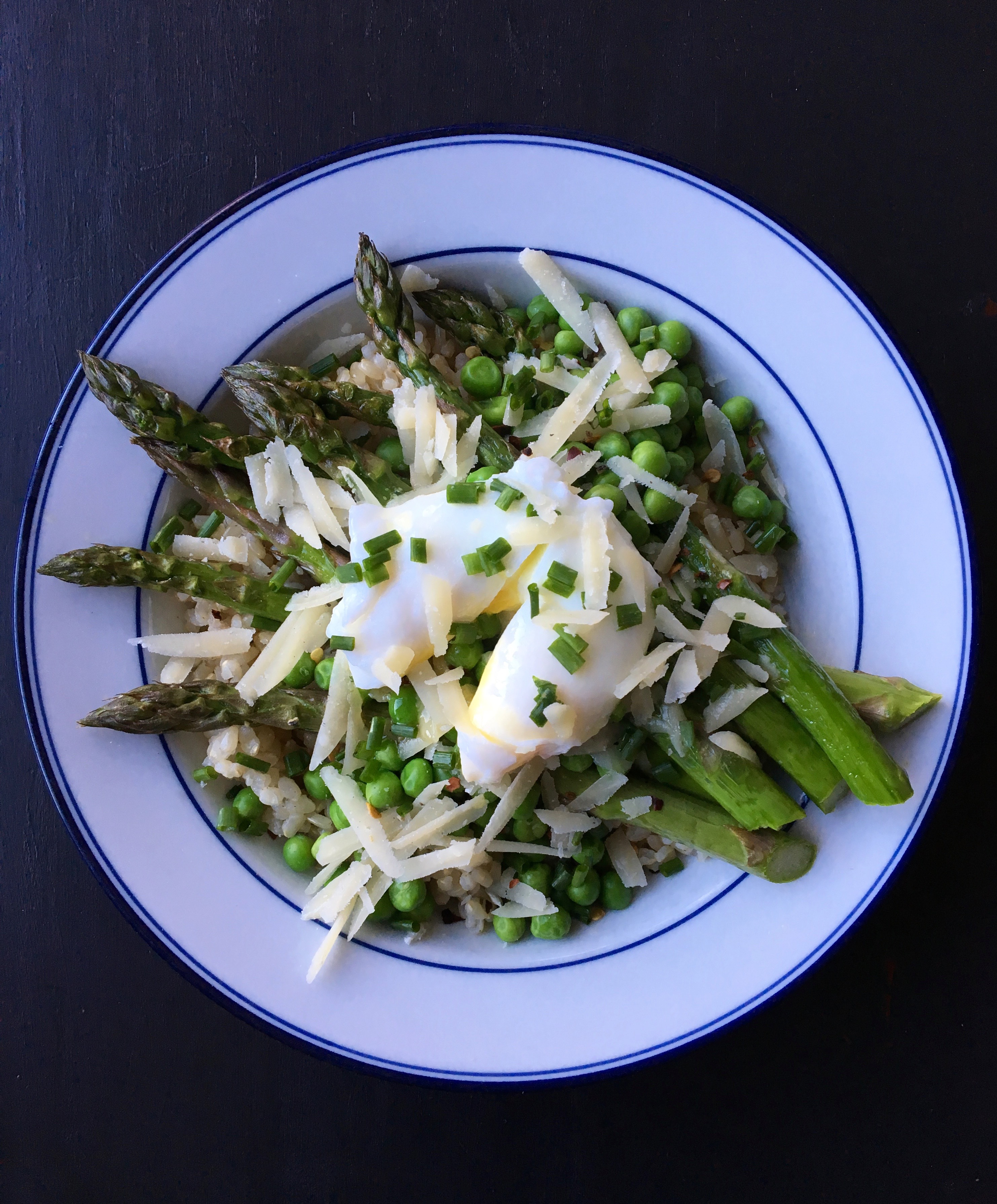 Living Healthy In Seattle: Brown Rice Bowl With Roasted Asparagus, Peas, Parm