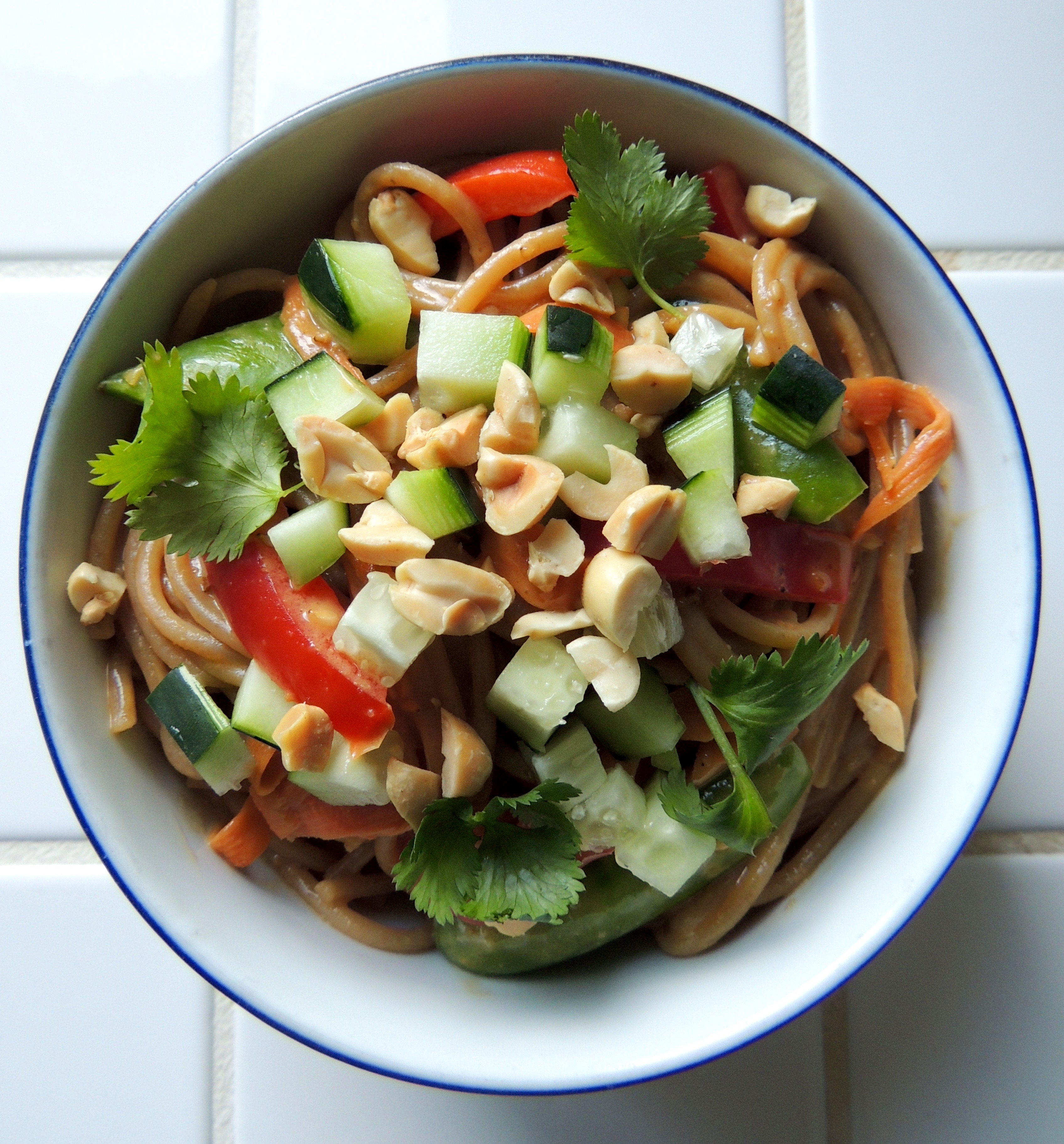Noodle Salad with Raw Veggies & Peanut Sauce | Living Healthy in Seattle