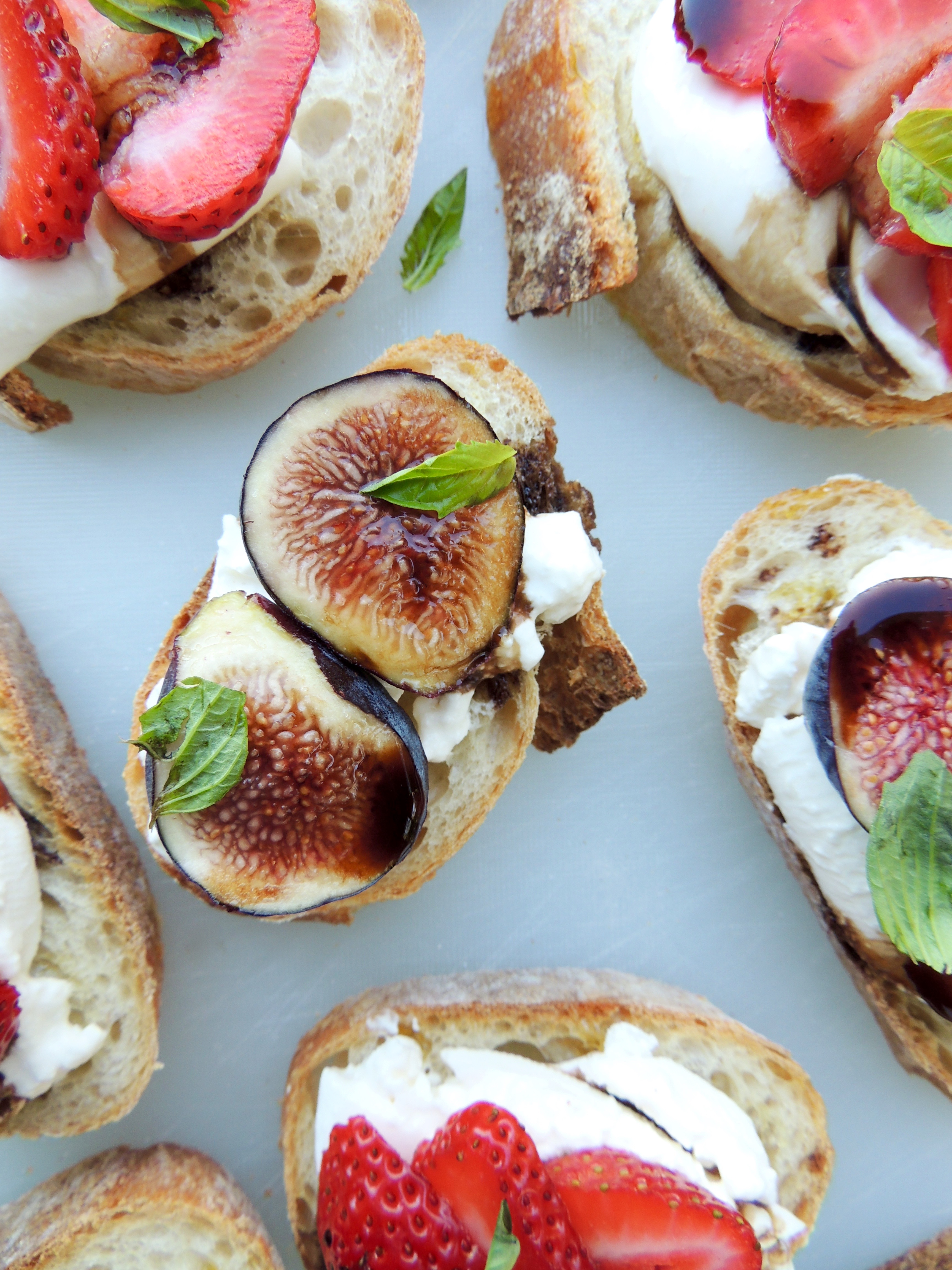 Figs & Strawberries with Burrata on Baguette | Living Healthy in Seattle