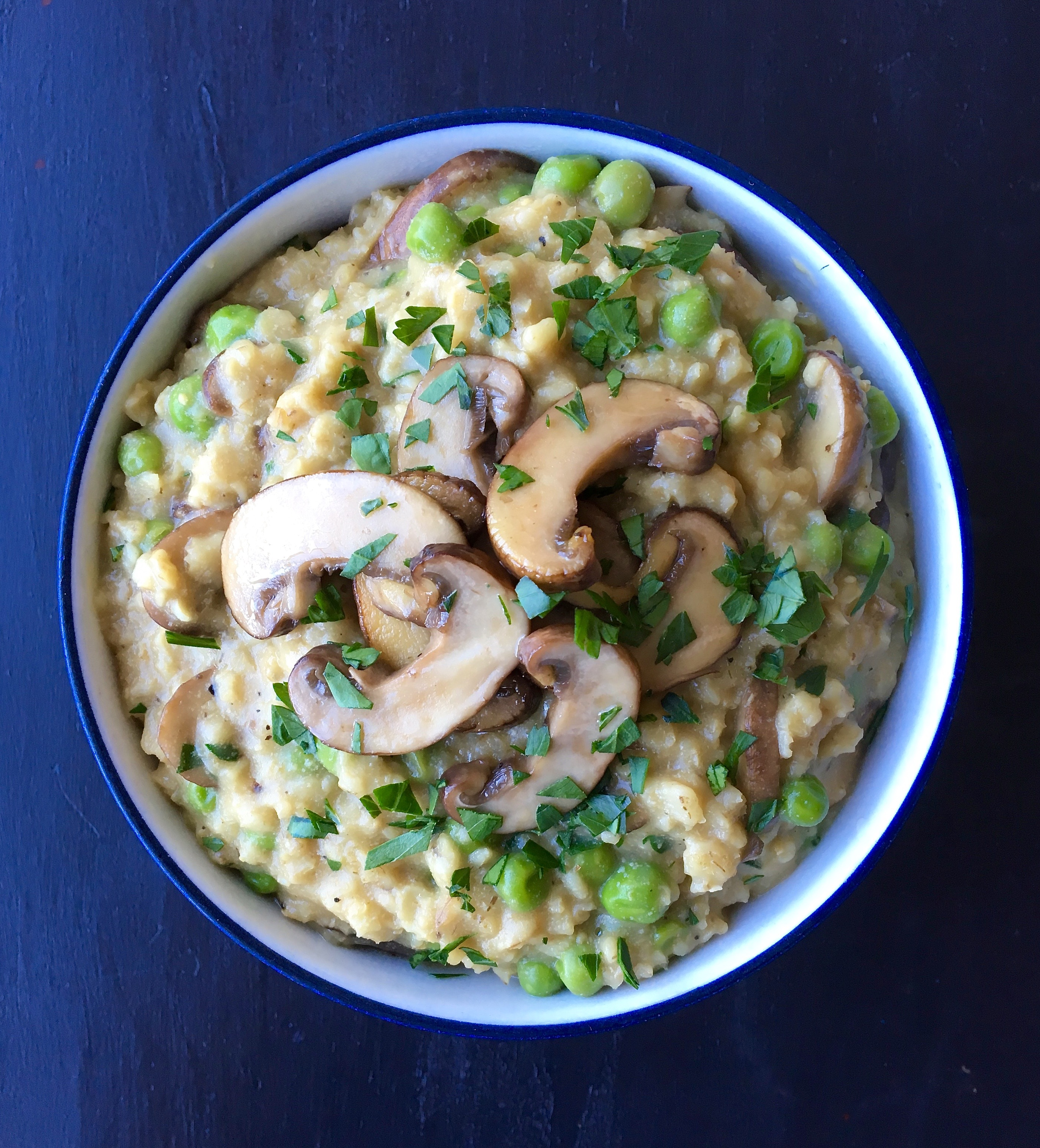 Vegan Risotto-Style Oats with Peas & Mushrooms | Living Healthy in Seattle