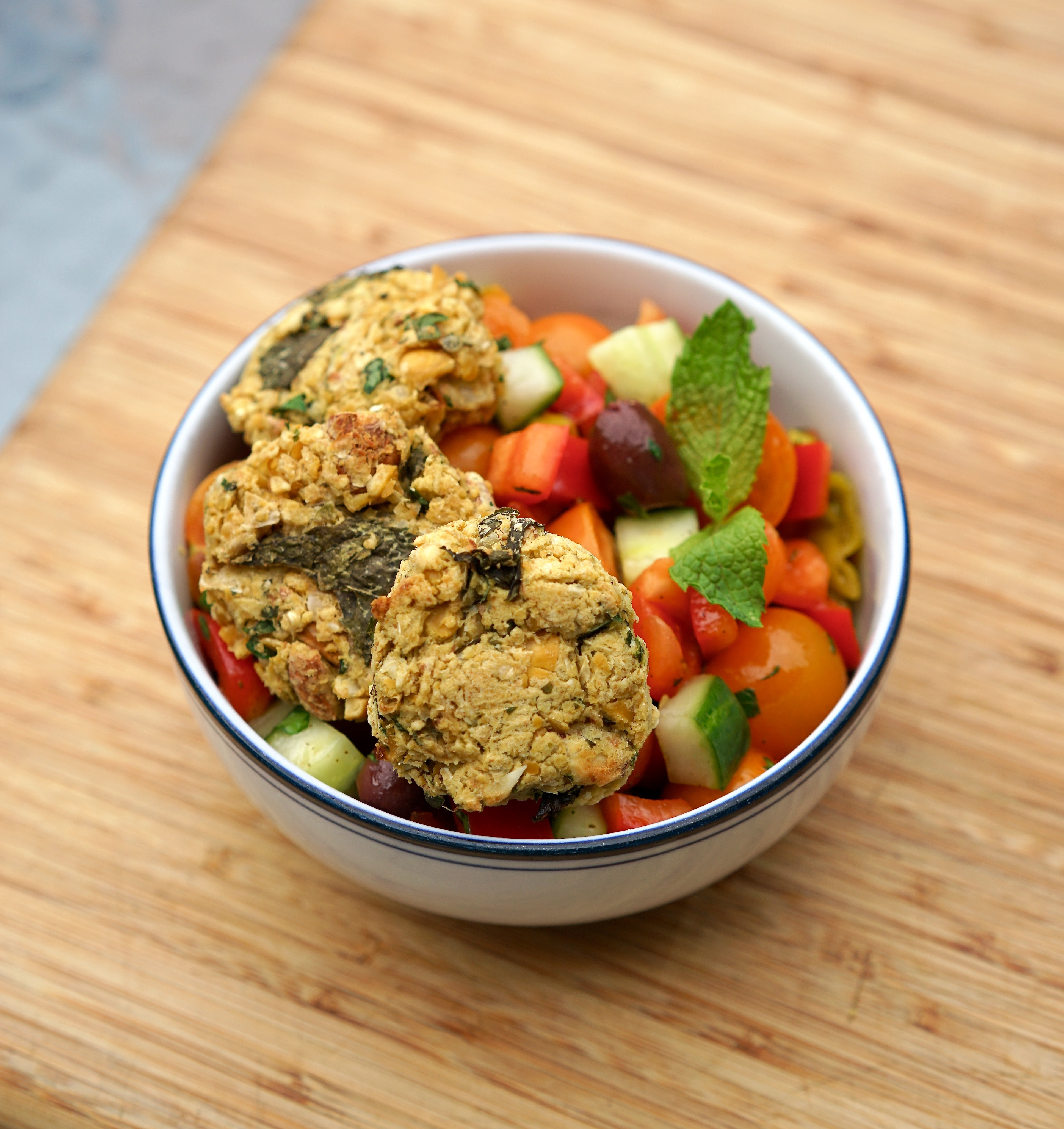 Easy Baked Falafel with Fresh Greek Salad | Living Healthy in Seattle