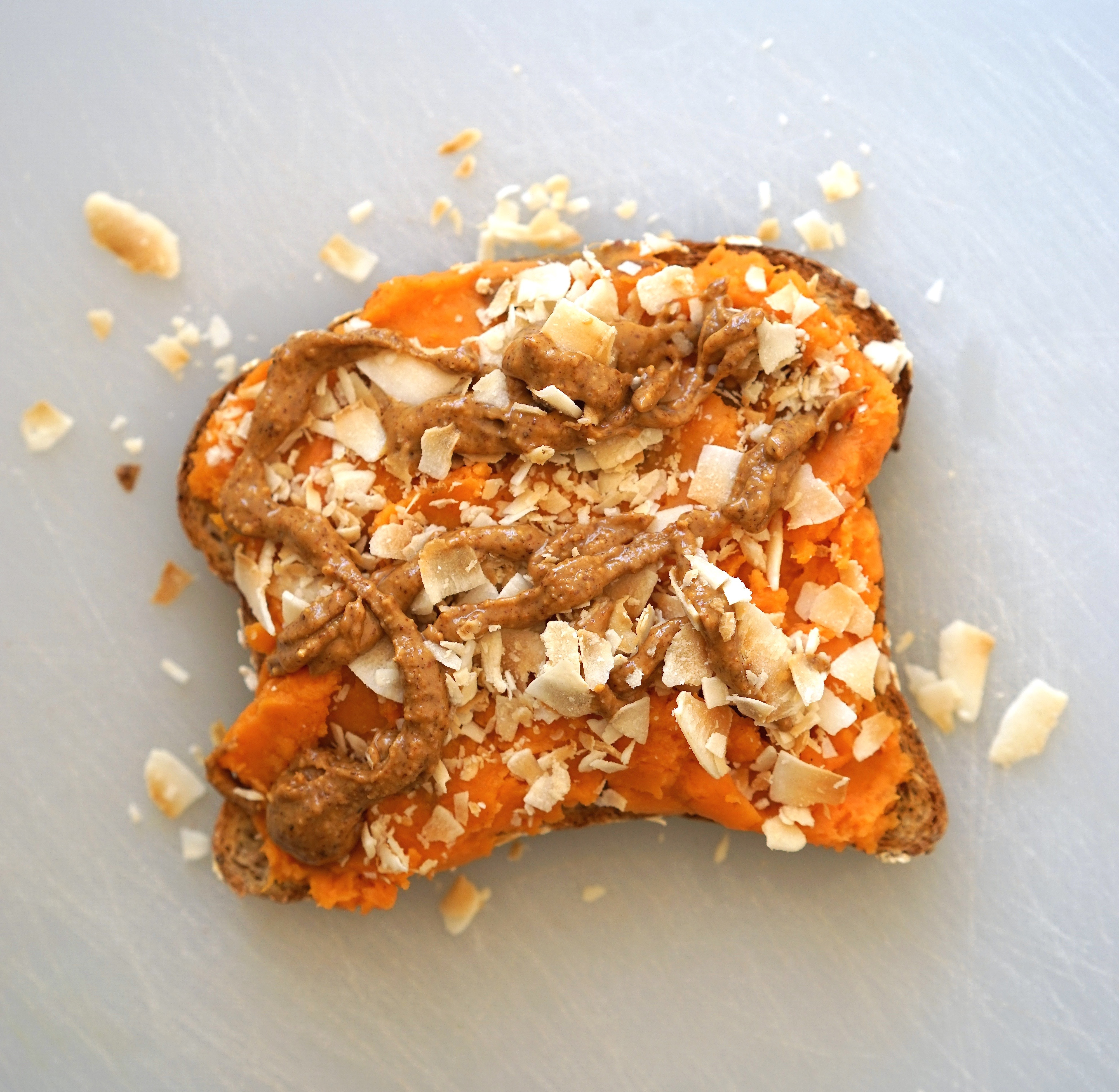 Sweet Potato & Coconut Toast with Almond Butter Drizzle | Living Healthy in Seattle